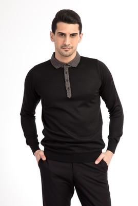 Erkek Giyim - Siyah L Beden Polo Yaka Önü Kumaşlı Yünlü Regular Fit Triko Kazak