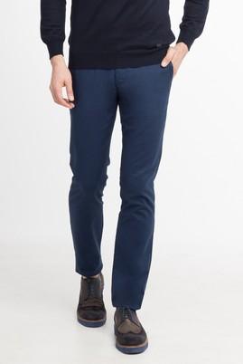 Erkek Giyim - KOYU MAVİ 56 Beden Slim Fit Desenli Pantolon