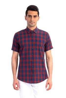 Erkek Giyim - Kırmızı 4X Beden Kısa Kol Spor Gömlek