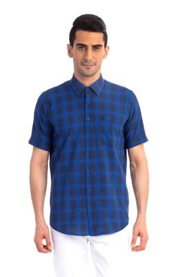 Erkek Giyim - Lacivert XXL Beden Kısa Kol Spor Gömlek