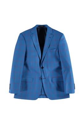 Erkek Giyim - Mavi 48 Beden Kareli Ceket
