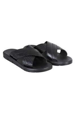 Erkek Giyim - Siyah 45 Beden Örgü Baskı Deri Terlik