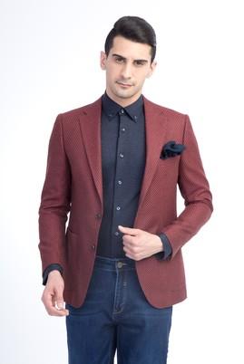Erkek Giyim - Kırmızı 48 Beden Regular Fit Yünlü Kuşgözü Ceket