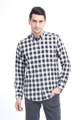 Erkek Giyim - Krem XXL Beden Uzun Kol Regular Fit Ekose Gömlek
