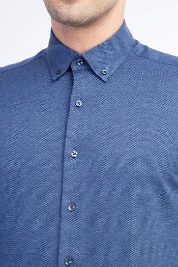 Erkek Giyim - Uzun Kol Örme Slim Fit Gömlek