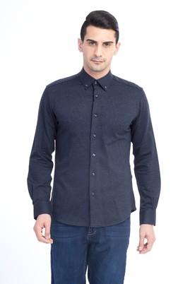 Erkek Giyim - Antrasit XL Beden Uzun Kol Örme Slim Fit Gömlek