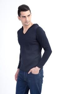 Erkek Giyim - Kapüşonlu Slim Fit Triko Kazak