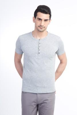 Erkek Giyim - Orta füme L Beden Bisiklet Yaka Slim Fit Tişört