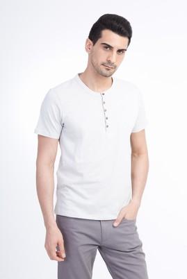 Erkek Giyim - Kum L Beden Bisiklet Yaka Slim Fit Tişört