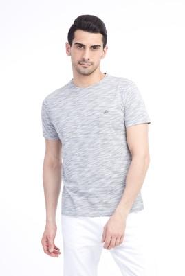 Erkek Giyim - Açık Gri L Beden Bisiklet Yaka Slim Fit Tişört