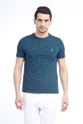 Erkek Giyim - Lacivert L Beden Bisiklet Yaka Slim Fit Tişört