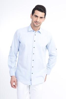 Erkek Giyim - Açık Mavi XXL Beden Uzun Kol Spor Gömlek