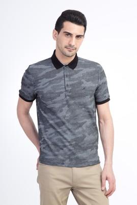 Erkek Giyim - Siyah M Beden Regular Fit Desenli Polo Yaka Tişört