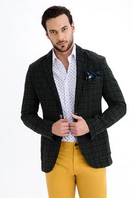 Erkek Giyim - KOYU YESİL 46 Beden Regular Fit Ekose Ceket
