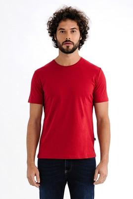 Erkek Giyim - Kırmızı S Beden Bisiklet Yaka Slim Fit Tişört