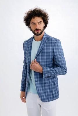 Erkek Giyim - Açık Mavi 46 Beden İtalyan Ekose Ceket