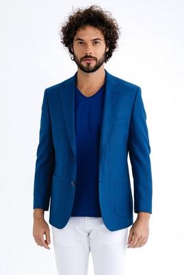 Erkek Giyim - Mavi 46 Beden İtalyan Yünlü Kuşgözü Ceket