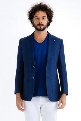 Erkek Giyim - KOYU MAVİ 60 Beden İtalyan Ekose Keten Ceket