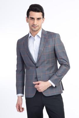 Erkek Giyim - Orta füme 54 Beden Kareli Ceket