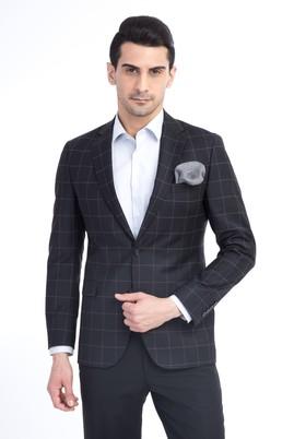 Erkek Giyim - Siyah 46 Beden Kareli Ceket