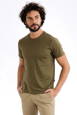 Erkek Giyim - HAKİ L Beden Bisiklet Yaka Slim Fit Tişört