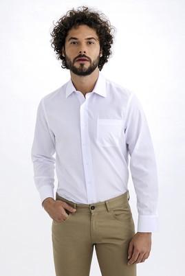 Erkek Giyim - Beyaz XXL Beden Uzun Kol Desenli Gömlek