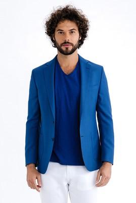 Erkek Giyim - Mavi 50 Beden Klasik Yün Oxford Ceket