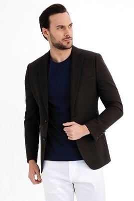Erkek Giyim - KOYU KAHVE 54 Beden İtalyan Yünlü Desenli Ceket