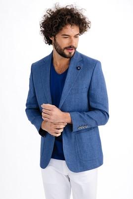 Erkek Giyim - Mavi 58 Beden İtalyan Ekose Keten Ceket