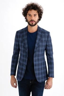 Erkek Giyim - Mavi 50 Beden İtalyan Ekose Ceket