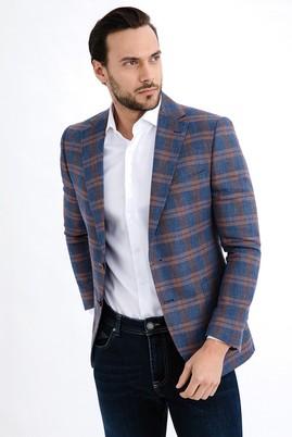 Erkek Giyim - Turuncu 54 Beden İtalyan Ekose Ceket