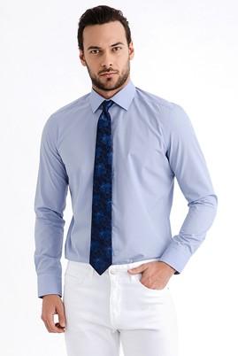 Erkek Giyim - Mavi S Beden Uzun Kol Slim Fit Gömlek