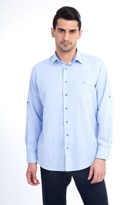 Erkek Giyim - Mavi L Beden Uzun Kol Keten Gömlek