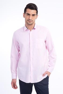 Erkek Giyim - Pembe XXL Beden Uzun Kol Keten Gömlek