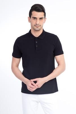 Erkek Giyim - Siyah L Beden Polo Yaka Slim Fit Tişört