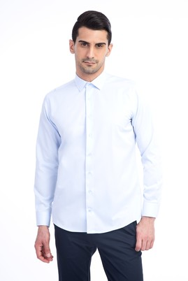 Erkek Giyim - Açık Mavi XXL Beden Uzun Kol Slim Fit Gömlek