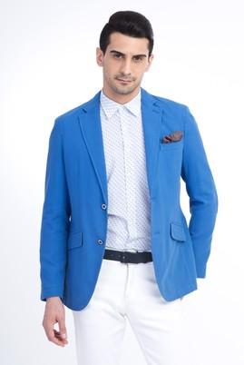 Erkek Giyim - Mavi 46 Beden Astarsız Oxford Ceket