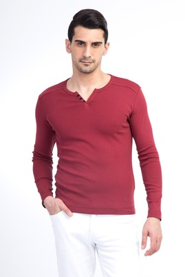 Erkek Giyim - Bordo XXL Beden V Yaka Slim Fit Sweatshirt