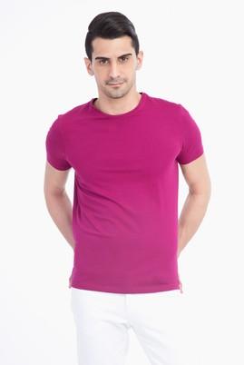 Erkek Giyim - Pembe M Beden Bisiklet Yaka Slim Fit Tişört