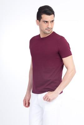 Erkek Giyim - Kırmızı M Beden Bisiklet Yaka Slim Fit Tişört