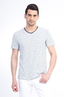 Erkek Giyim - Beyaz XXL Beden V Yaka Çizgili Slim Fit Tişört
