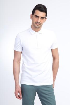 Erkek Giyim - Beyaz L Beden Yarım İtalyan Yaka Slim Fit Tişört