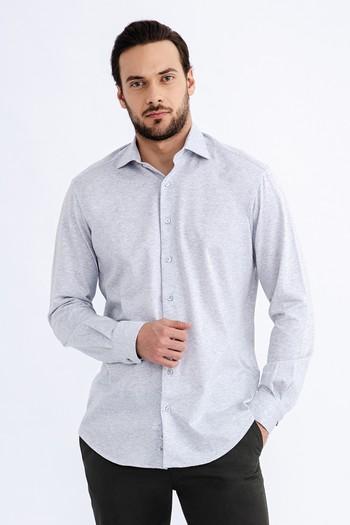 Erkek Giyim - Uzun Kol Desenli Spor Gömlek
