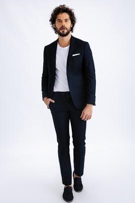 Erkek Giyim - Lacivert 46 Beden Süper Slim Fit Takım Elbise