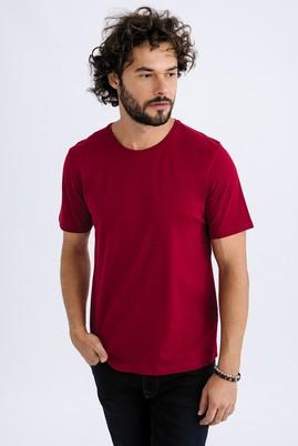 Erkek Giyim - Bordo M Beden Bisiklet Yaka Regular Fit Tişört
