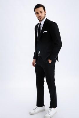 Erkek Giyim - SİYAH 70 Beden Regular Fit Yünlü Takım Elbise