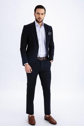 Erkek Giyim - LACİVERT 48 Beden Klasik Yünlü Takım Elbise