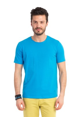 Erkek Giyim - Turkuaz XXL Beden Bisiklet Yaka Regular Fit Tişört