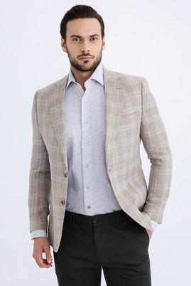 Erkek Giyim - Bej 50 Beden İtalyan Ekose Ceket