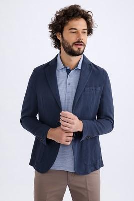 Erkek Giyim - Lacivert 46 Beden Keten Baskılı Spor Ceket